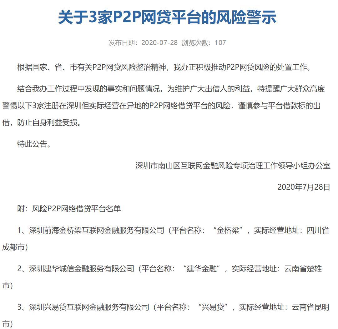 兴易贷、安贷宝等8家深圳P2P平台被风险提示