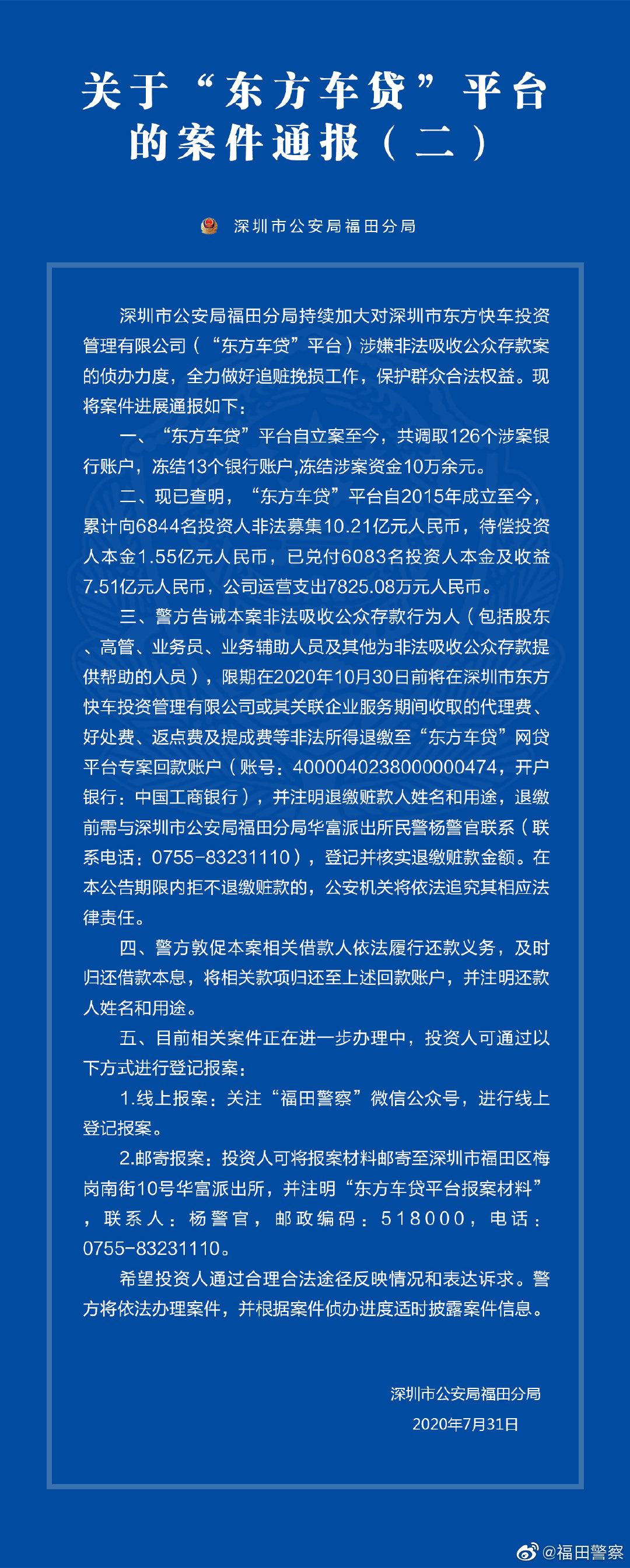 深圳涉案P2P东方车贷进展:待偿1.55亿 冻结超10万