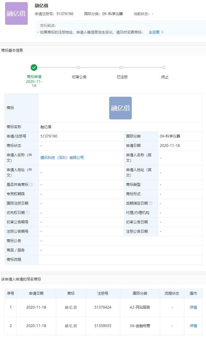 """腾讯正申请注册""""融亿借""""商标:或意在布局借贷类产品"""