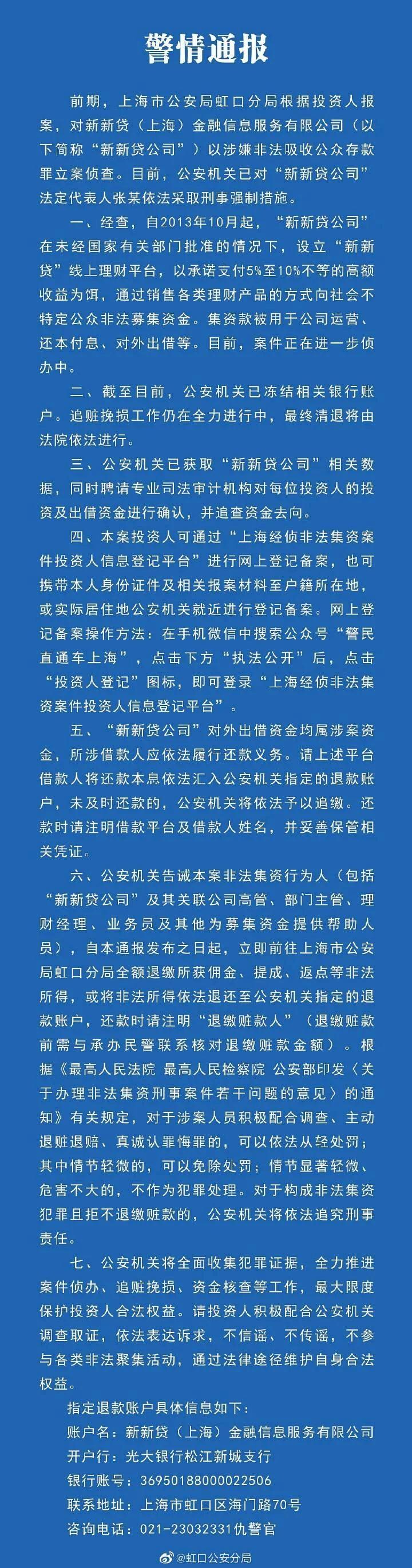上海新新贷被立案!法人被采取刑事强制措施,未兑付金额超20亿 ...